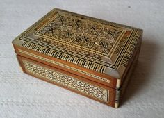 A Beautiful Inlaid Wooden Jewellery Box, A Beautiful Inlaid And Lined Jewellery Box Has Fantastic Mother Of Pearl Inlay work, Hand Made by OnyxCollectables on Etsy
