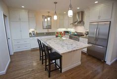 Like the lights.  Absolutely YES to hardwood floors in the kitchen. This layout could also work if the fridge wall is long enough