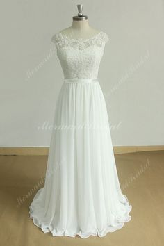 789f6c58c55 Stunning open back A line chiffon lace beach wedding dress with sweetheart  neckline