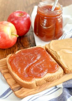 Homemade Apple Butter is perfect in a peanut butter sandwich!