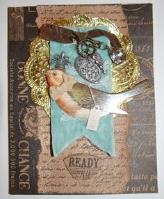 Paris Flea Market Card by Leanne Seed using Canvas Corp Papers & Stamps as well as Tattered Angels Bronze Glimmer Mist
