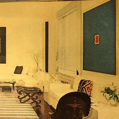 """Cucumber-cool room enlivened by beautifully chosen abstract art. Chessy and Bill Rayner apartment, New York, 1970s. Horst for Vogue."""