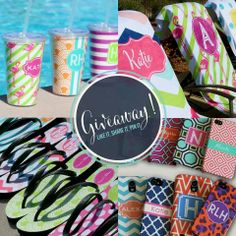 Beach Essential Items...tumblers, towels, flip flops, and phone cases  #latticeandivy Shop at: http://latticeandivy.com/tracyroyster