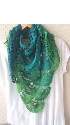 READY TO SHIP This shawl is hand crocheted from a %50-50 cotton - acrylic, degrade yarn . A lovely and very versatile accesssory for everywoman . The shawl will instantly add colour and also keep you warm . You can wear it as an oversized scarf as a shawl or cope or in any other way