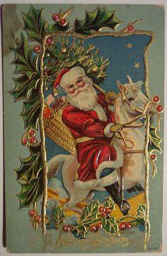A Merry Christmas Vintage Christmas Postcard Santa Victorian Christmas, Vintage Christmas Cards, Retro Christmas, Vintage Holiday, Christmas Art, Christmas Greetings, Father Christmas, Christmas Horses, Christmas Mantles