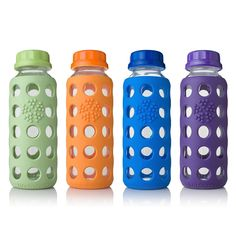 Glass Beverage Bottle - 9oz. by Lifefactory at BabyEarth.com, $9.95    WE'RE INTENDING ON DOING ALL GLASS BOTTLES