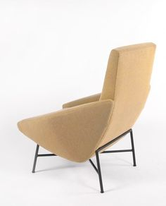 Christian Defrance and Geneviève Dangles ; Enameled Metal Base Lounge Chair, 1950s.