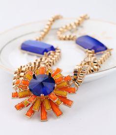 Fashionable Orange Red Pendant Necklace