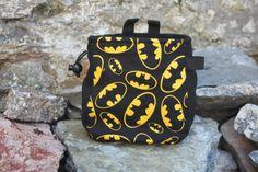 Chalk Bag Batman for rock climbing black yellow incl adjustable belt and pocket Rock Climbing, Climbing Chalk, Black N Yellow, Bouldering, Fabric Patterns, Leather Backpack, Fashion Backpack, Batman, Belt