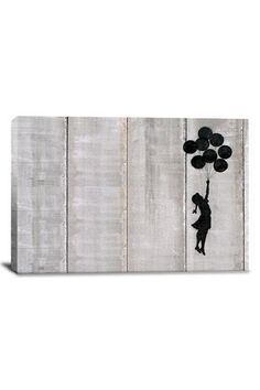 Banksy Flying Balloons Girl 18in x 12in Canvas Print