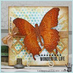 Tammy Tutterow Designs | Wonderful Life Card featuring Tim Holtz Layering Stencils and Sizzix Dies.