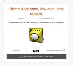 Home Appliance, low cost local repairs. Appliance Repair, Free Advice, Shout Out, Home Appliances, How To Get, Books, House Appliances, Livros, Appliances