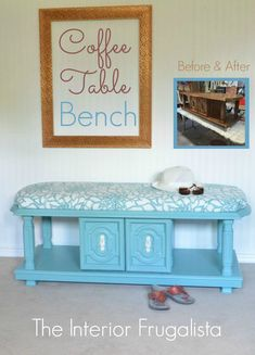 from 70 s coffee table to upholstered bench, chalk paint, painted furniture… Refurbished Furniture, Repurposed Furniture, Furniture Makeover, Painted Furniture, Furniture Vintage, Plywood Furniture, Furniture Projects, Furniture Making, Home Furniture