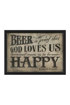EB Beer is Proof on White Small Custom Framed Wall Art by Spicher & Co. on @HauteLook