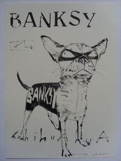 BANKSY THE CHIHUAHUA DOG  ORIGINAL DRAWING INK ON PAPER BY ANDY SHAW