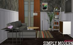 pyszny16´s Simply Modern Living Room.Enjoy! • Loveseat (+2rc) • Lounge Chair (+2rc) • Ladder Shelf (+1rc   5 slots) • Floorlamp • Endtable (+1rc) • Coffeetable • Cabinet (+2rc) • Also included: Collection file and icon and Multipliers for recolorists Credit: pyszny16 for her gorgeous meshes Download: BOX   Mediafire