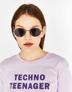 """""""Techno teenager"""" ecologically grown cotton printed T-shirt - Bershka #fashion #product #tshirt #tee #camiseta #printed #slogan #text #print #quote #realthings #spring #summer #ss #cool #trend #trendy #girl #girly #outfit #inspiration #ideas #tee #camiseta #estampada"""