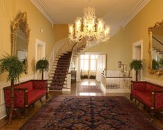Hall inside the President's Mansion at The University of Alabama
