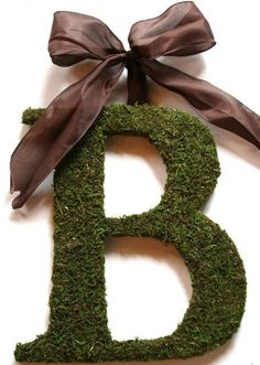 moss letter for front door ~  It's $69 here, but I want to make one for a lot less.