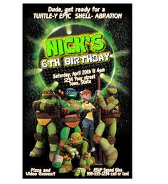 DIY TMNT, Teenage Mutant Ninja Turtles, Turtle Birthday Party Invitation. $8.99, via Etsy.
