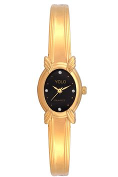 YOLO Women's Black Dial Analog Wrist Watch with Golden Metal Strap Is A Unique And Innovative Product In The Wrist Watches Market. This Amazing, Stylish Fashion Watch Has Arrived To Complement Your Look And Attitude.