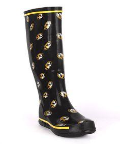FANSHOES Black & Gold Missouri Rain Boot
