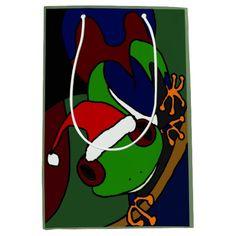Funny Tree Frog in Santa Hat Christmas Gift Bag #Christmas #giftbags #frogs #funny #abstract And www.zazzle.com/tickleyourfunnybone*