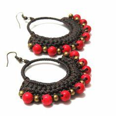 crochet-hoop-earrings-brown-red-4