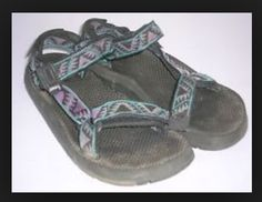 90's fabric velcro sandals. Had a Aztec printed pair from zellers.