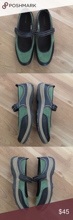 "Lands' End Maryjane fashion sneaker size 8.5 Very good used condition. They are a size 8.5 1.25"" heels. Olive green color and black. Bin #20 Lands' End Shoes Sneakers"