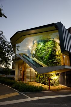 I like the interior green wall, glass expanse, stairs, standing seam metal siding.  (why-i-design)