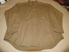 Ralph Lauren Mens XL Blake cotton long sleeve khaki button up Shirt EUC @ #RalphLauren #ButtonFront