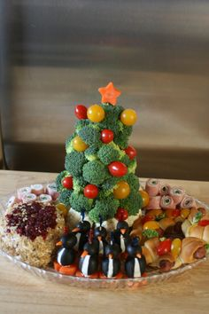 Mini Vegtable Christmas Tree with mini Wreath and mini Cheese Ball appetizer tray.