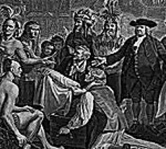 Significant Events of the Pennsylvania Colony: Engraving of William Penn's Treaty with the Lenni Lenape Indians in 1681.