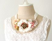 Floral Necklace in Soft White, Blush Pink, Rose Red, with Vintage Victorian Buttons