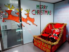 Santa sleigh cardboard boxes box and xmas diy cardboard father christmas sleigh 2014 gironas window shopping christmas contest winner solutioingenieria Choice Image