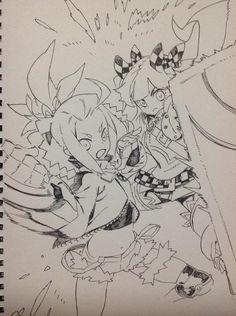 """""""七竜フューチャー&パスト"""" Manga Drawing, Manga Art, Drawing Sketches, My Drawings, Character Design References, Character Art, Shirow Miwa, Anime Lineart, Comic Text"""