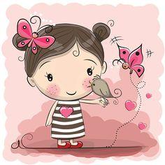 Cute Cartoon Girl with bird - ilustração de arte em vetor