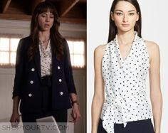 ShopYourTv:Pretty Little Liars: Season 6 Episode 15 Spencer's Polka Wrap Top - ShopYourTv Pretty Little Liars Seasons, Pretty Little Liars Fashion, Pll Outfits, Family Outfits, Spencer Hastings Hair, Spencer Pll, Fashion Tv, Fashion Outfits, Lucy Hale Style