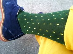 When you are wearing yellow pants and blue shoes you don't need much from your socks beyond color.