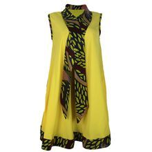 African Print Detail Tent Dress - Yellow