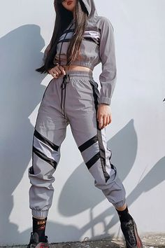 Women Silver Reflective Color Block Sports Hoodie Pants Suit Set - streetwear supreme hypebeast mens fashion fashion sneakers off w Cute Comfy Outfits, Sporty Outfits, Swag Outfits, Korean Outfits, Retro Outfits, Mode Outfits, Stylish Outfits, Girls Fashion Clothes, Teen Fashion Outfits