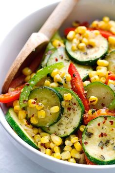A warm corn and zucchini saute with a few ingredients and 10 minutes to make. The perfect side dish to serve along side grilled chicken, meats, or seafood!