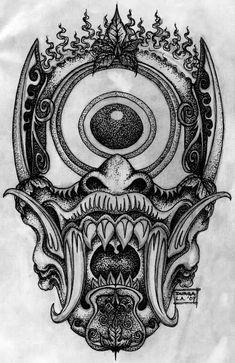 Japanese Demon Mask, Japanese Demon Tattoo, Creepy Tattoos, Head Tattoos, Body Art Tattoos, Black Tattoos, Oni Mask Tattoo, Yakuza Tattoo, Hunter Tattoo