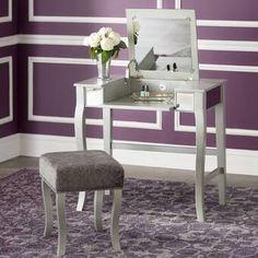 Willa Arlo Interiors Strattenborough Vanity Set with Mirror Vanity Table Set, Vanity Set With Mirror, Vanity Stool, Mirrored Bedroom Furniture, Rustic Furniture, Bedroom Makeup Vanity, Upholstered Stool, Shabby Chic Table And Chairs, Glass Vanity