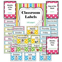Classroom Labels - 143 pages - Back2School from Bayside Math Teacher on TeachersNotebook.com (143 pages)
