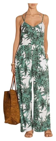132d385103a7 Mara Hoffman Green and White Harvest Romper Jumpsuit