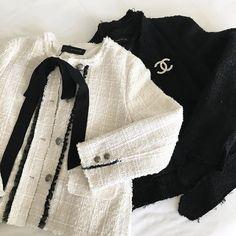 Zara tweed jacket chanel brooch black white