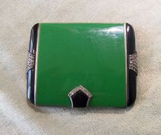 Vintage Art Deco COMPACT - Enameled Jeweled WALTER LAMPL Enchantaire Green Black