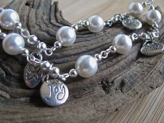 Beach Bling Peace, Love, Hope and Joy White Pearl Silver Chain Anklet - pinned by pin4etsy.com